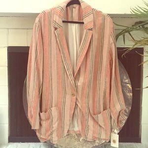 Free People striped linen blazer *NEVER WORN*